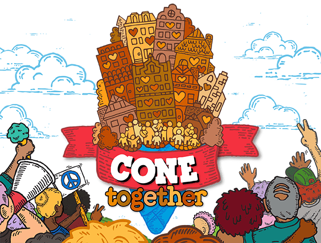 header image for Cone Together, a European refugee resettlement campaign